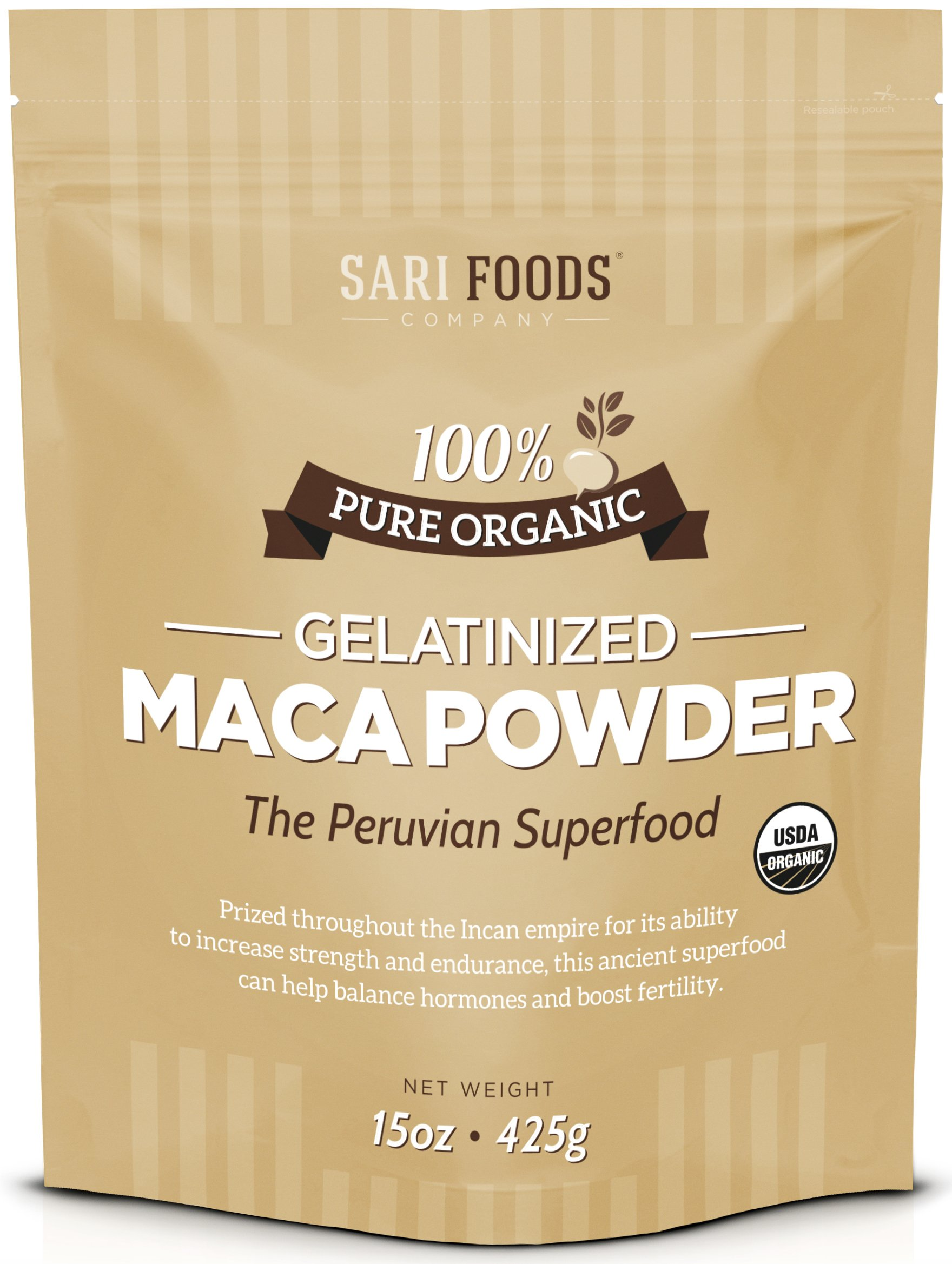 Organic Gelatinized Maca Powder (15 Ounce) Natural Plant Based Superfood: Hormone Balancing & Stamina Enhancing Abilities, Aids Mental & Emotional Clarity, Endurance, Reproductive Function & Fertility