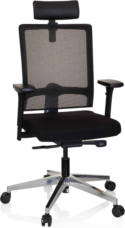 hjh OFFICE Chaise de Bureau Filet Noir, Tissu, Noir, VARO