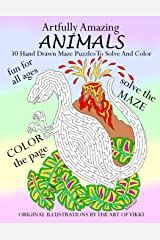 Artfully Amazing Animals: 30 Hand Drawn Maze Puzzles To Solve And Color Paperback