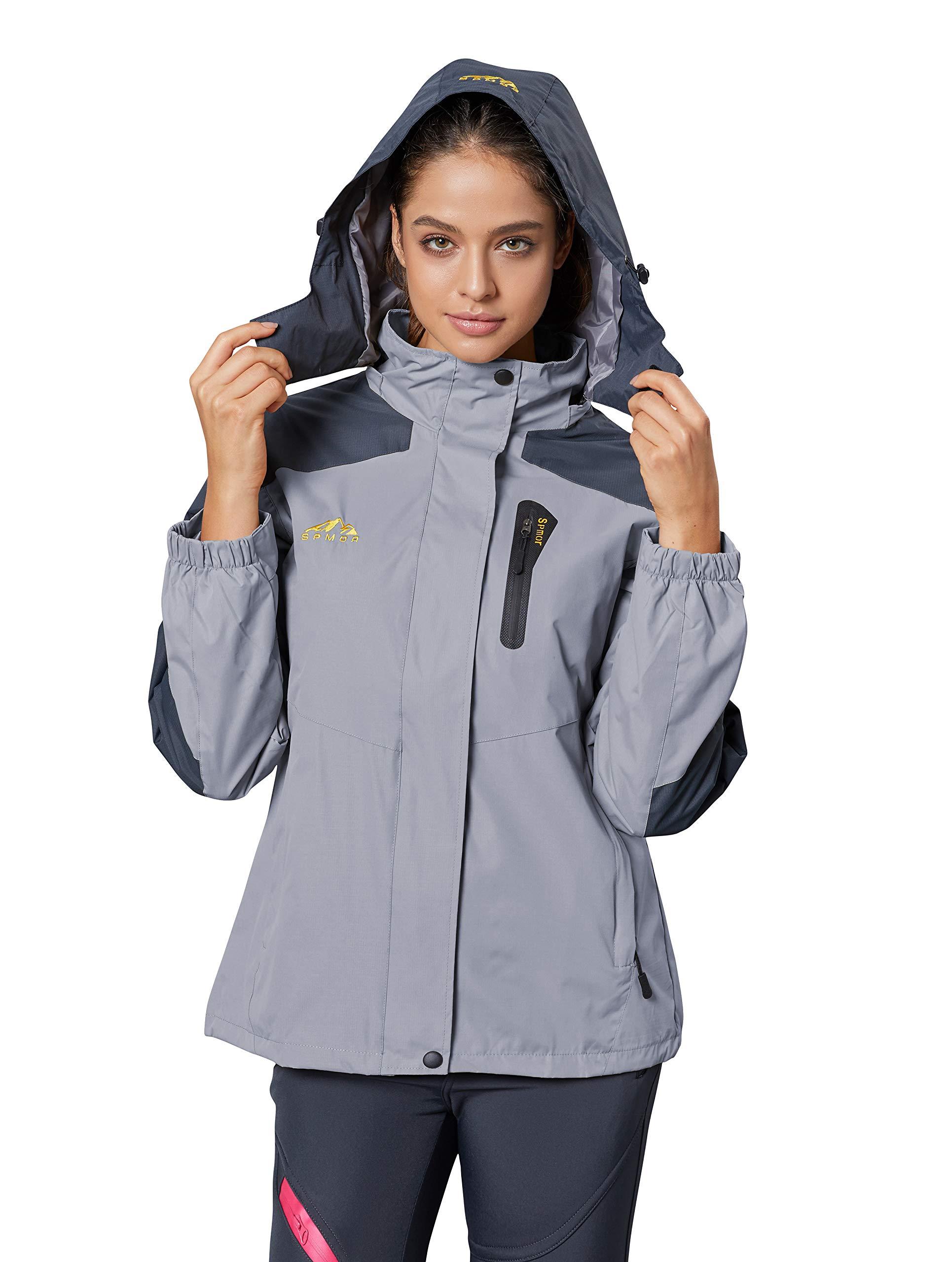Spmor Women's Waterproof Jacket Rain Coat Windproof Breathable Hooded Windbreaker Jacket Grey X-Large by Spmor