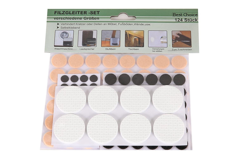 Osma Juego de protectores para muebles, 124 unidades, redondos, 1-4 cm, 3 colores diferentes JEAN Products