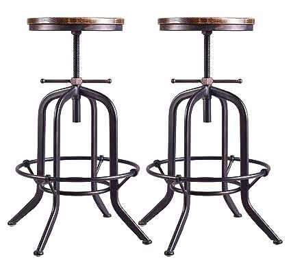 Marvelous Amazon Com Set Of 2 Industrial Bar Stool Vintage Adjustable Evergreenethics Interior Chair Design Evergreenethicsorg