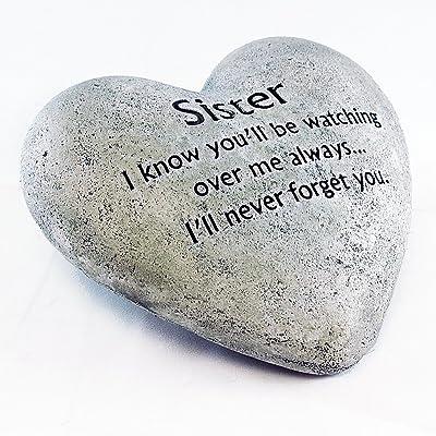 Gerson Heart Shaped Memorial Stone for Sister : Garden & Outdoor