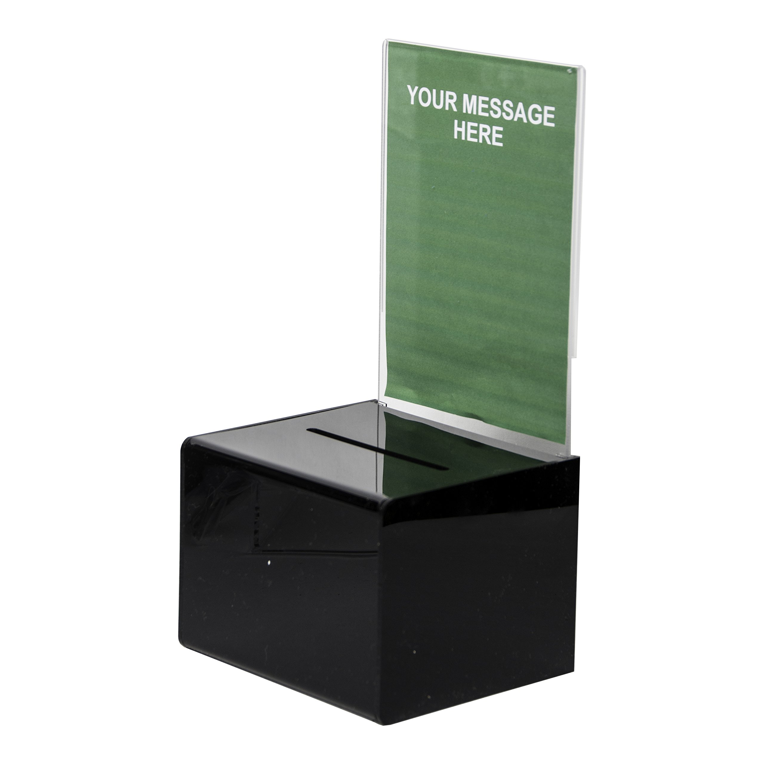 Clear-Ad - BB-545 - Black Acrylic Ballot Box 5x4x5 with Sign Holder - Plastic Countertop Container - Best for Donation, Voting, Charity, Survey, Raffle, Contest, Suggestions, Comments (Pack of 2)