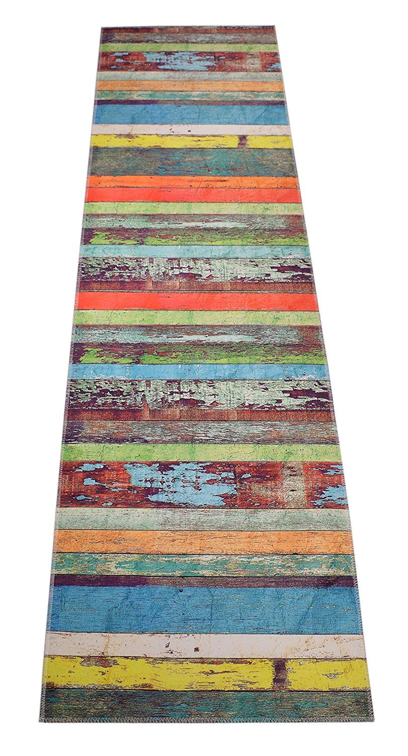 Custom Size Runner Rug Nature Inspired Printed Roll Runner 26 Inch Wide x Your Length Choice Antibacterial Slip Skid Resistant TPR Backing (Wood Multi Color, 8 ft x 26 in)