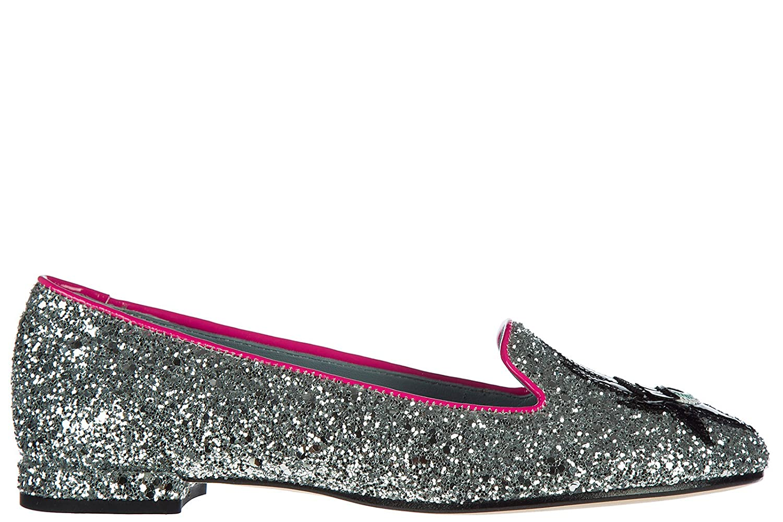 ff97ffe81 Chiara Ferragni women s ballet flats ballerinas glitter silver cheap