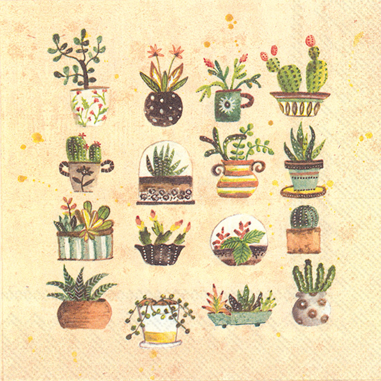 Celebrate the Home Lori Siebert 3-Ply Paper Luncheon Napkins, Succulents, 20 Count