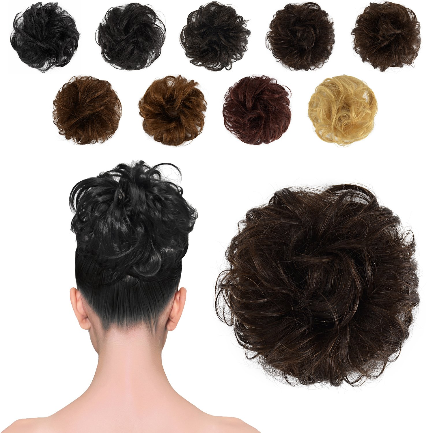 FESHFEN 100% Human Hair Scrunchies (4# Medium Brown) Curly Messy Hair Bun Extensions Wedding Hair Pieces for Women Kids Hair Updo Donut Chignons