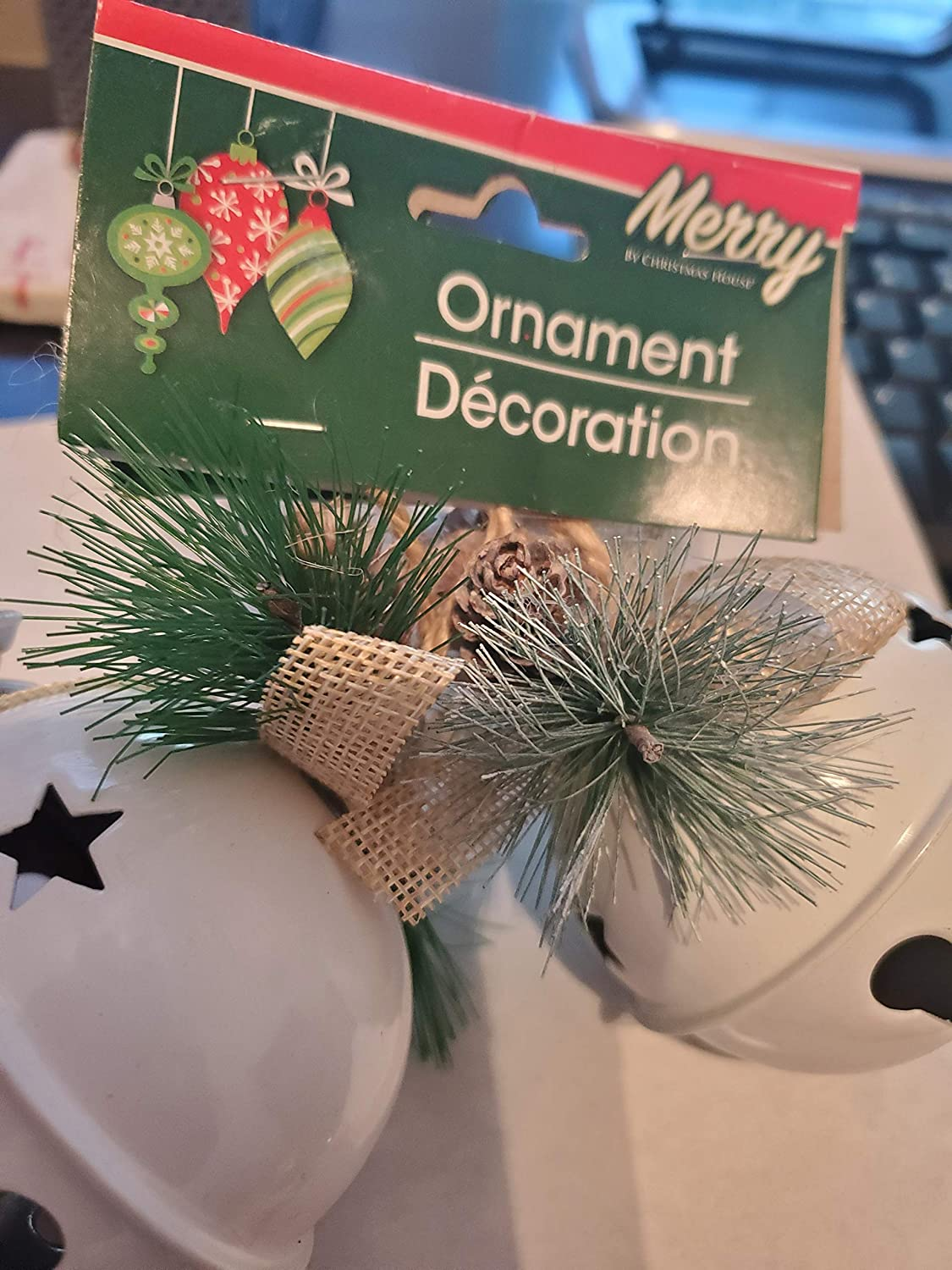 Bonus: 1pk Red Pointster 3pc Christmas House White Bell Ornaments with Pine Accents 2pk 2.625 in. ACY