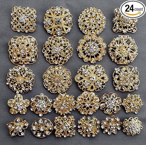 Amazon Com 24 Pcs Gold Rhinestone Brooch Crystal Brooches Wedding
