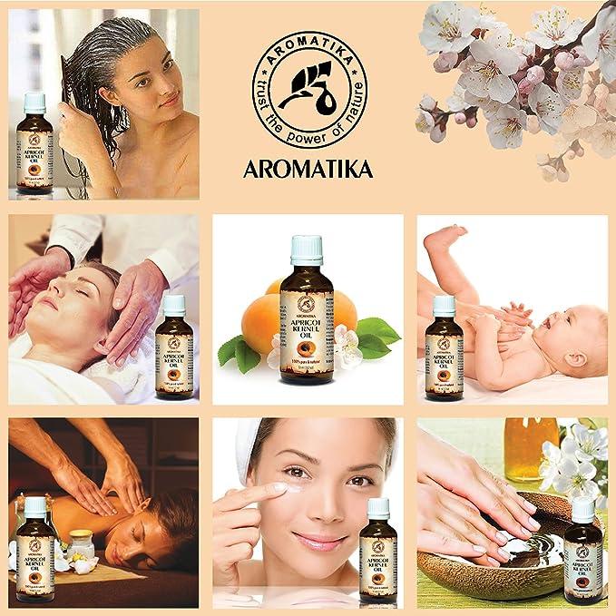Aceite de Semilla de Albaricoque 50ml - Prunus Armeniaca - Italia - Prensado en Frío - 100% Natural y Puro - Botella de Vidrio - Aceite Extra Virgen ...