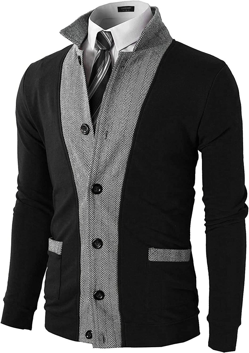 COOFANDY Mens Casual Cardigans Slim Fit Button Down Sweater Coat