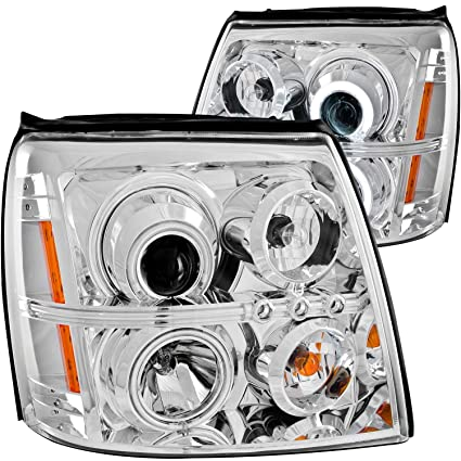 Amazon.com: AnzoUSA 111176 Chrome Clear/Amber Projector Halo ... on escalade led headlights, escalade on 28s, escalade grill, escalade led lights for an inner,