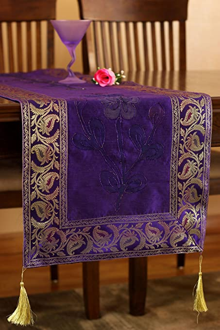 Superieur Hand Painted Deluxe Floral Table Runner (Plum Purple, 120u0026quot; ...