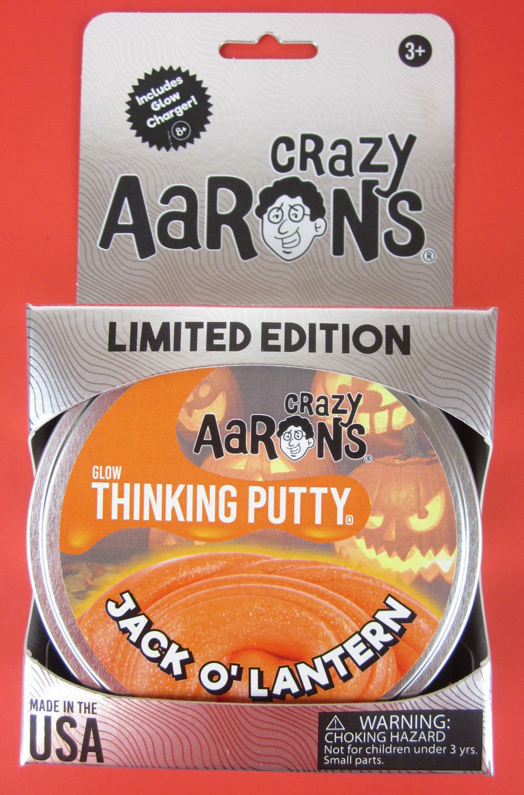 JACK O LANTERN Glow Orange Crazy Aarons Thinking Putty 2017 Halloween Limited Ed by New