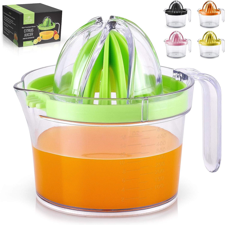 Zulay (17oz Capacity) Citrus Juicer Hand Press - Multifunctional Hand Juicer With Egg Separator, Large Reamer Adaptor, & Built-in Handle - Manual Juicer For Oranges, Lemons, Limes & More (Green)
