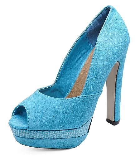 Kleidung & Accessoires LADIES ORANGE SLIP-ON PEEP-TOE COURT PLATFORM SMART HIGH-HEEL SHOES SIZES 3-8 Damenschuhe
