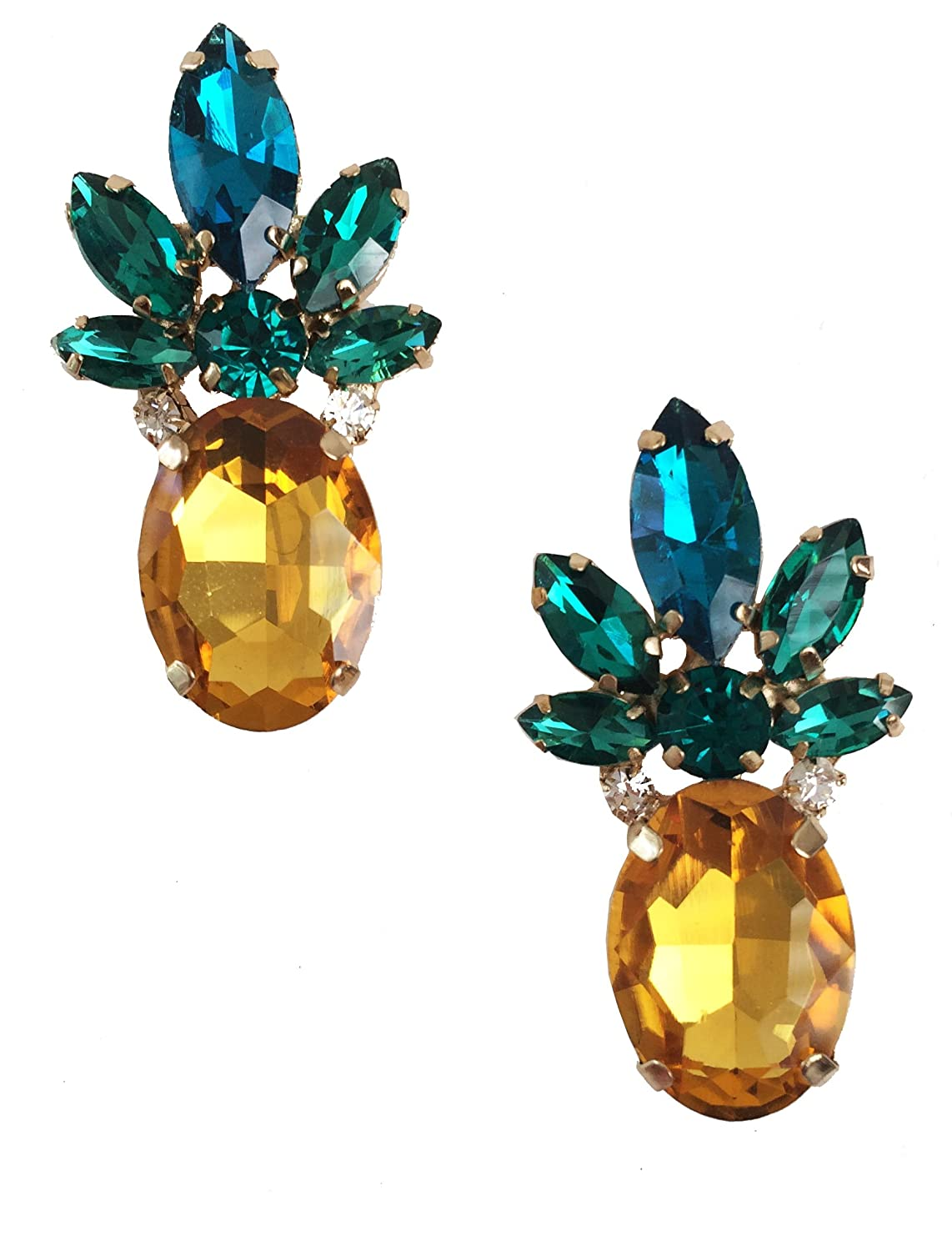 Retro Antique Vintage Style Amber Yellow Pineapple Rhinestone Cluster Earrings