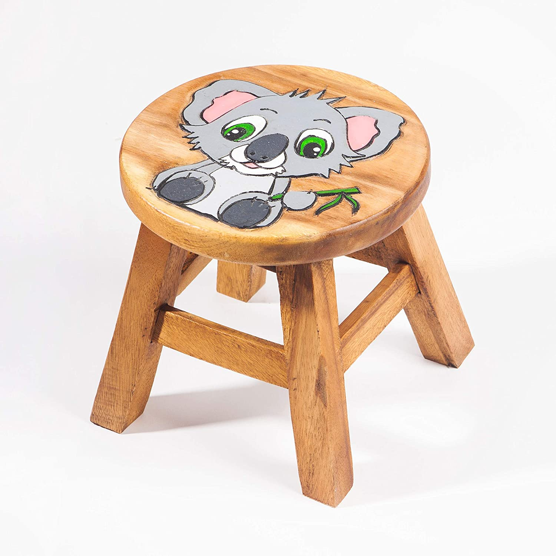 Schemel 25 cm Sitzh/öhe f/ür unsere Kindersitzgruppe Kinderhocker Kinderstuhl massiv aus Holz mit Tiermotiv Koala B/är