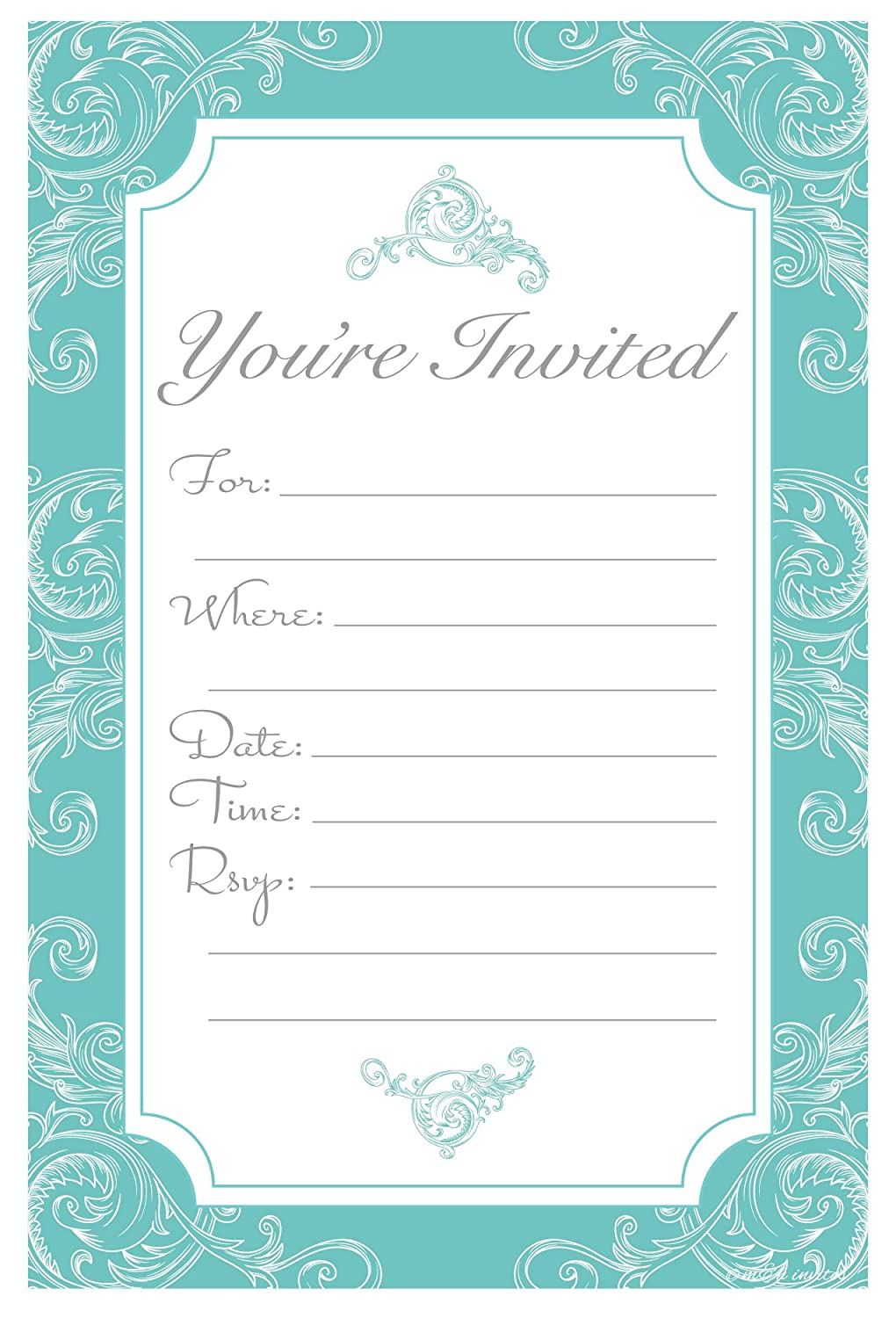 Amazon.com: Elegant Turquoise Fill In Invitations   Wedding, Bridal Shower,  Baby Shower, Engagement Party, Birthday   (20 Count) With Envelopes:  Kitchen U0026 ...