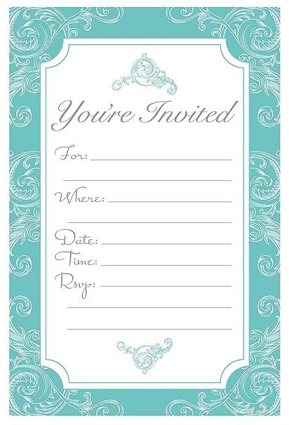 Amazon Com Elegant Turquoise Fill In Invitations Wedding Bridal
