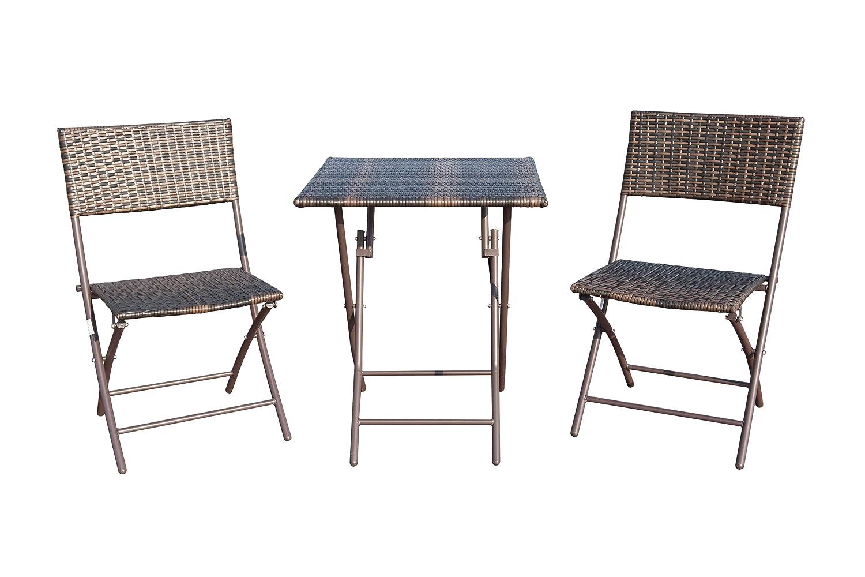 Gutgojo Balkonset Gartenmöbel Set 3-teilig Polyrattan Bistroset Balkonmöbel Garnitur Sitzgruppe 1x Tisch + 2X Klappstühle