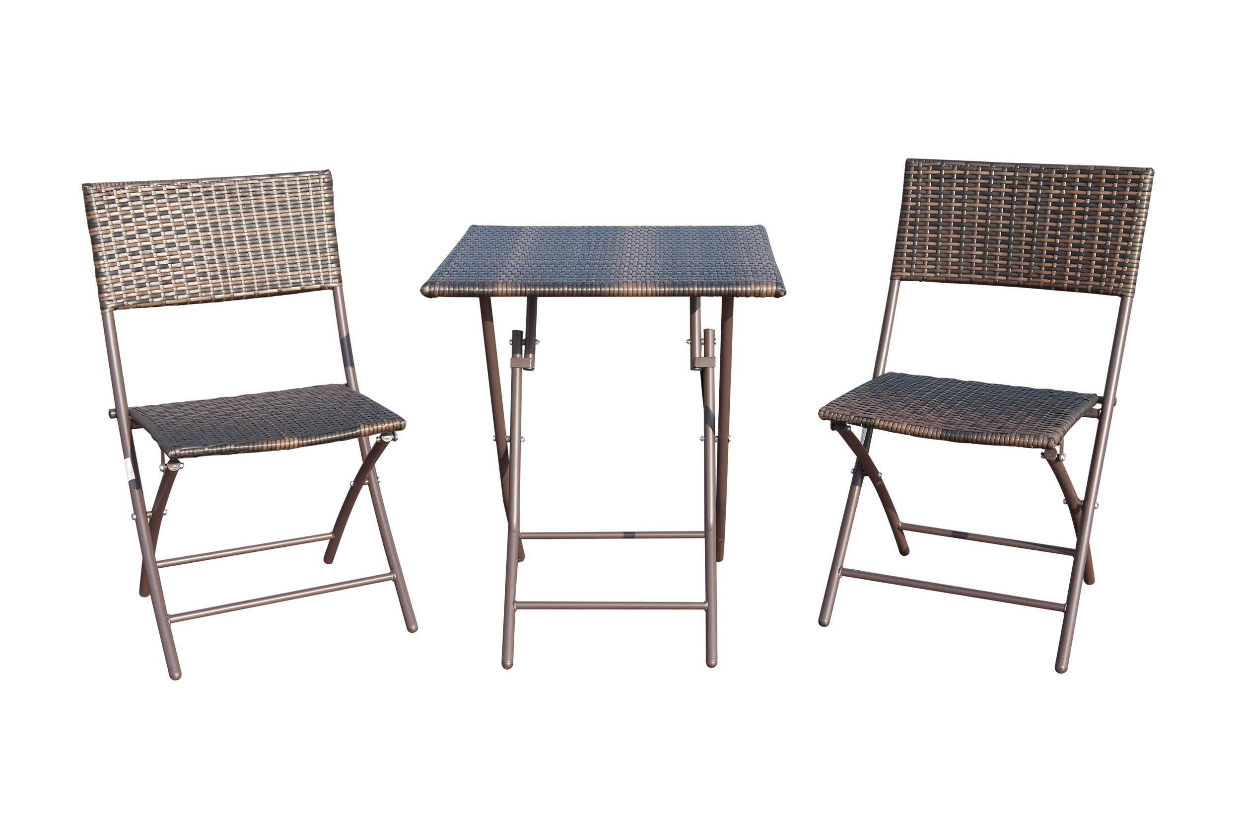 GOJOOASIS 3 Piece Folding Table and Chair Rattan Wicker Furniture Conversation Set Brown