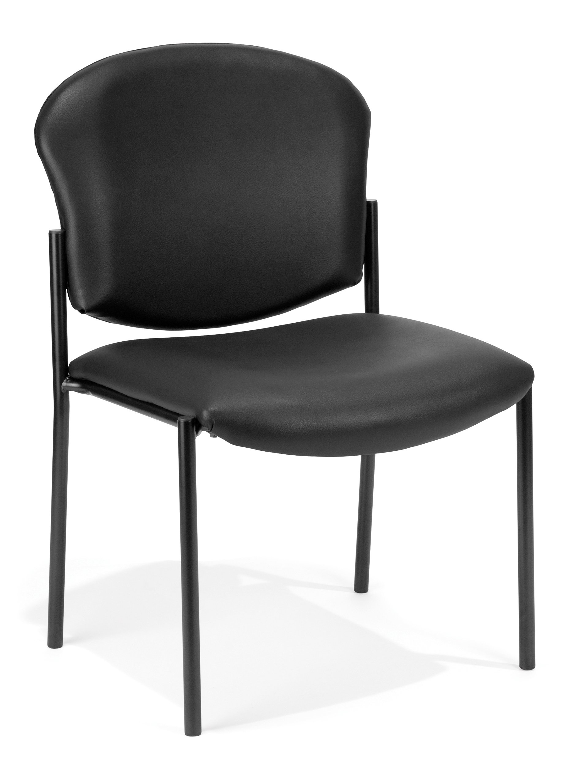 OFM Manor Series Armless Guest and Reception Chair, Anti-Microbial/Anti-Bacterial Vinyl, in Black (408-VAM-606)