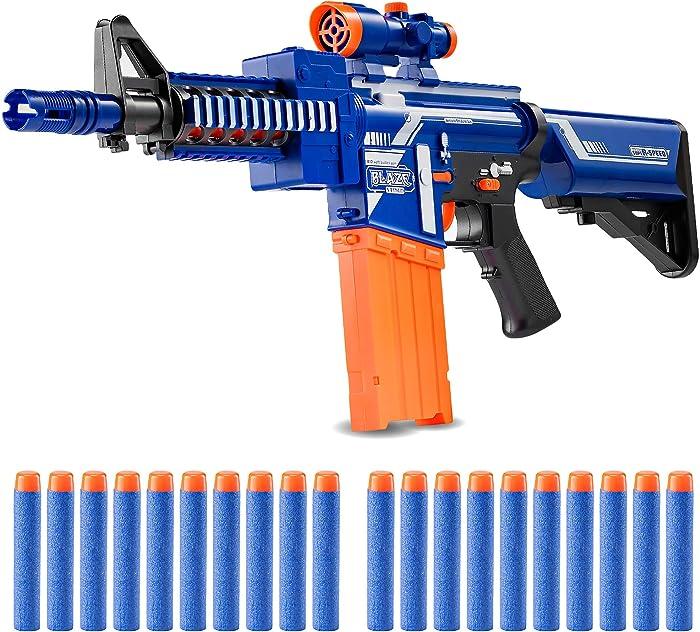 Zetz Brands Semi-Automatic Toy Sniper Rifle with 20 Darts, Load Cartridge & Sight Attachment - Long Range Blaster Weapon - Blue & Orange