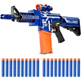 Zetz Brands Semi-Automatic Toy Blaster with 20 Darts, Load Cartridge & Sight Attachment - Long Range Blaster - Blue…