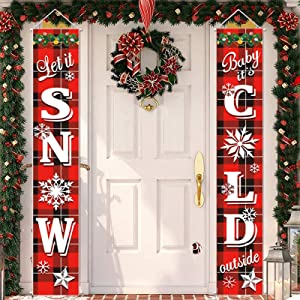 Christmas Porch Sign, Front Door Merry Christmas Banner Hanging Christmas Door Decorations for Home Wall Indoor Outdoor Holiday Party
