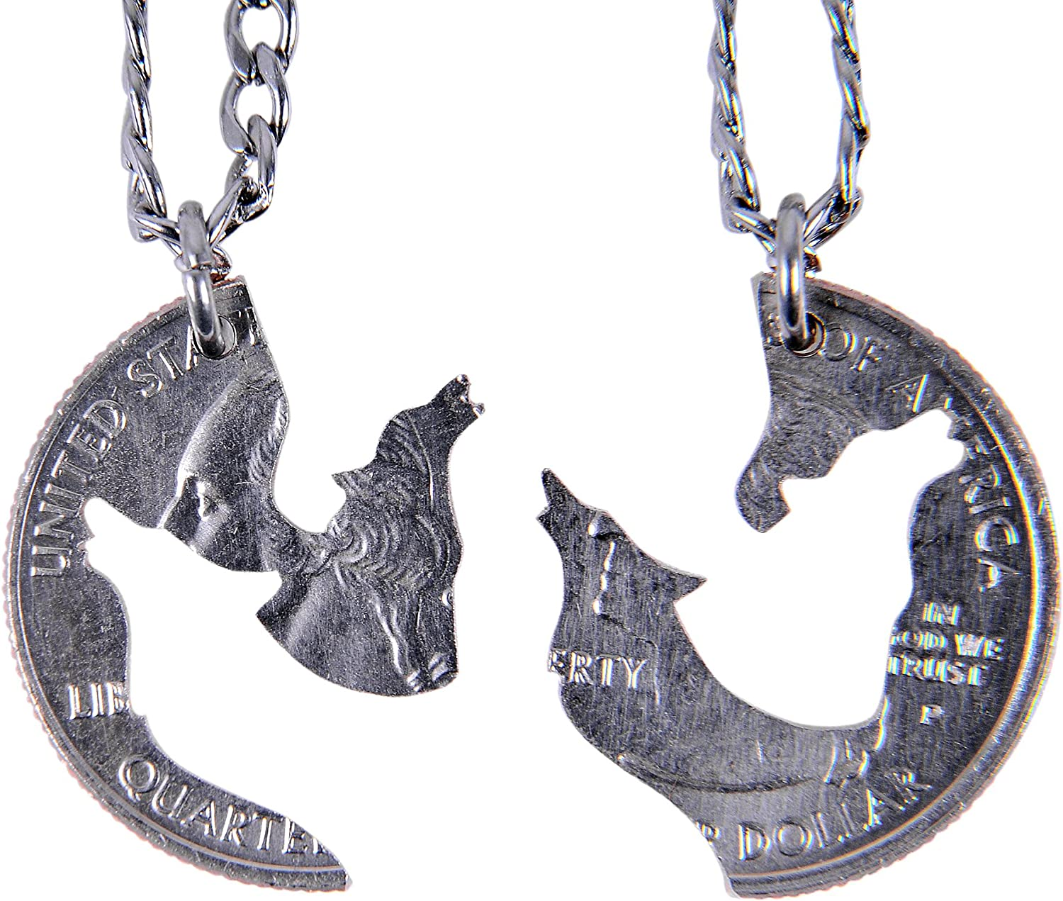 Marycrafts Hand Cut Coin Wolf Necklace Howling Wolves Best Friend Necklaces for 2