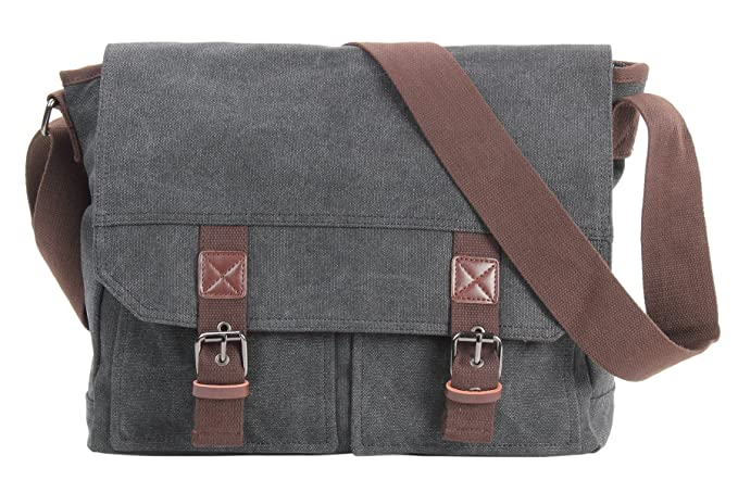 HONEYJOY Vintage Canvas Messenger Bag Laptop Shoulder Bags Classic  Crossbody Pack for Men   Women ( 425951bf997dc