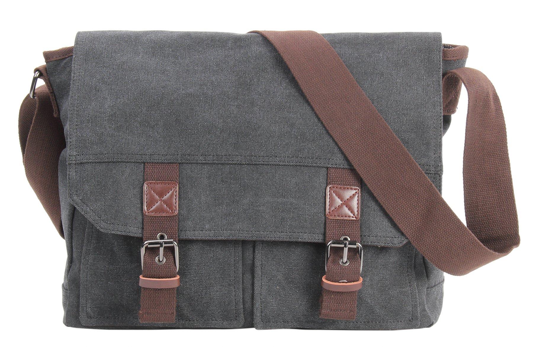 HONEYJOY Vintage Canvas Messenger Bag Laptop Shoulder Bags Classic Crossbody Pack for Men & Women (One Size, Black)