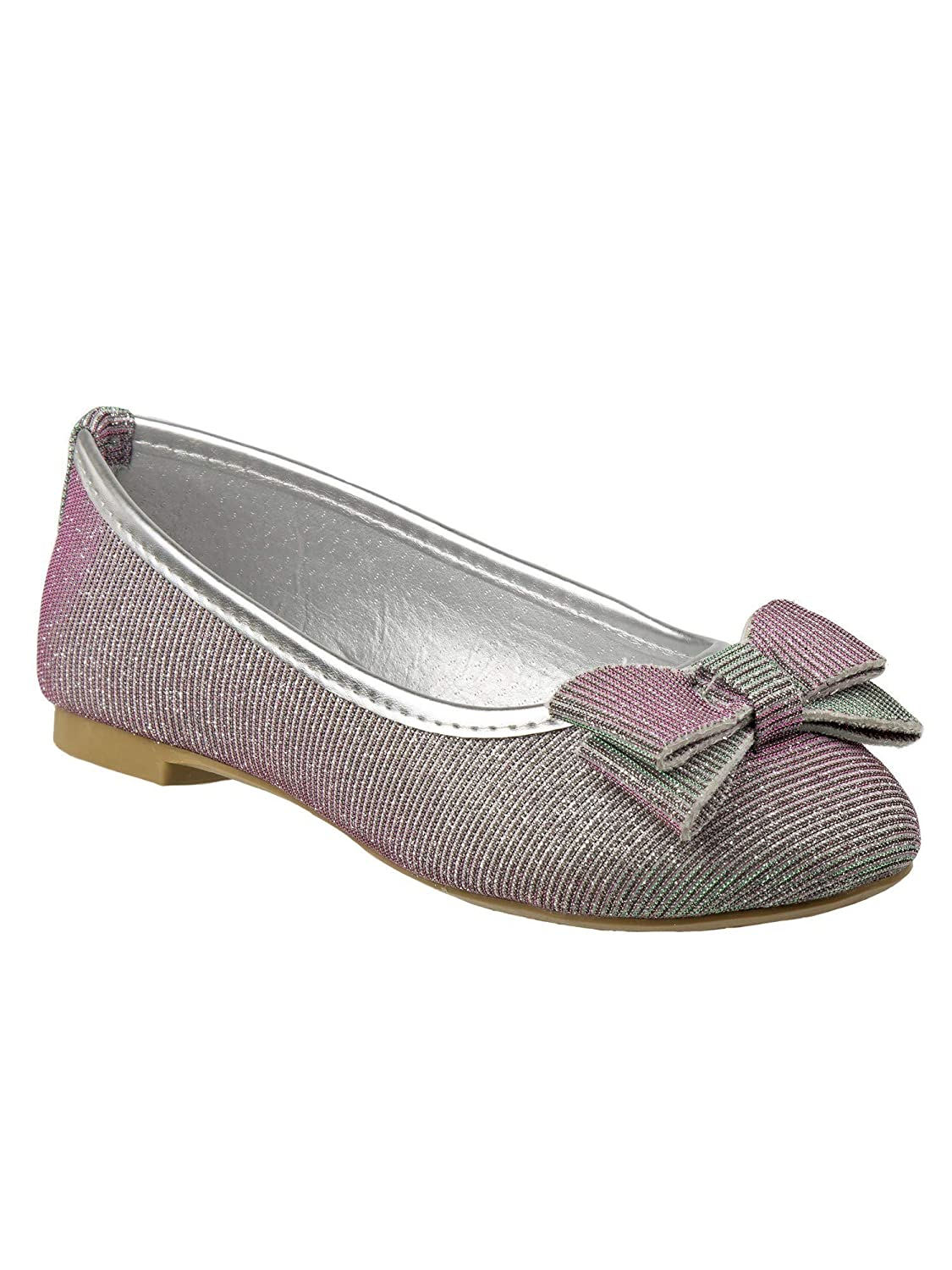 Laura Ashley Little Girls Silver Shimmery Textured Bow Accent Flats 5-10 Toddler