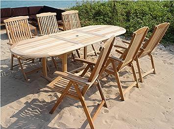 XXS® Möbel Gartenmöbel Set Aruba XL/7tlg Sechs Praktische Klappstühle Aruba  Verstellbar Tisch Aruba