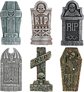 Unomor 6 Pack Halloween Outdoor Decorations 17'' Foam RIP Graveyard Tombstones Decorations for Halloween Yard Lawn Patio Decorations with 12 Ground Stakes