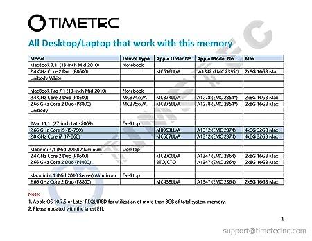 "USA 8GB 2x4GB RAM PC3-8500 For MC516LL//A MacBook Core 2 Duo 2.4 13/"" Mid-2010"