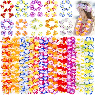 Hawaiian Leis, luau Party Supplies, 40Pcs Thickened Garland Flower Leis, Tropical Hawaiian Party Necklace, Headbands and Wristbands, Kids and Adults Party Supplies, Hawaiian Luau Decorations, Summer Beach Vacation, Tropical t