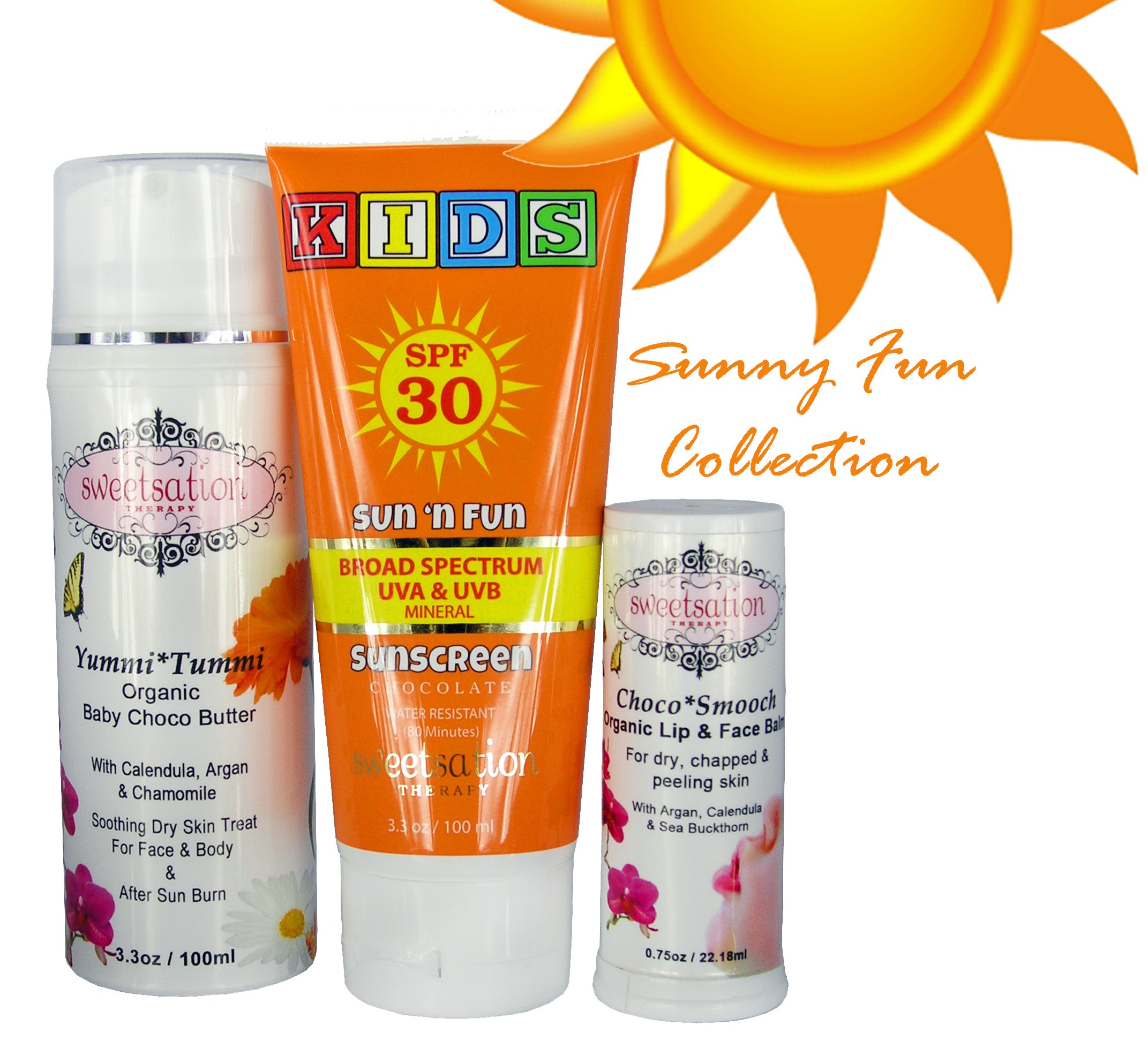 Chocolate Summer Collection''Sunny Fun'', contains Sun'n'Fun Broad Spectrum Mineral Sunscreen SPF30, YummiTummi Organic Baby Choco Butter and ChocoSmooch lip & face balm. by Sweetsation Therapy