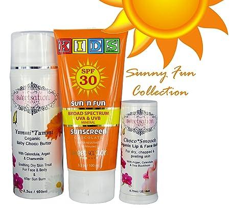 Chocolate Summer Collection Sunny Fun , contains Sun n Fun Broad Spectrum Mineral Sunscreen SPF30, YummiTummi Organic Baby Choco Butter and ChocoSmooch lip face balm.