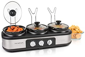 Nostalgia TSC15SS HomeCraft 3-Station Oval Slow Cooker Buffet 1.5-Quart Stainless Steel