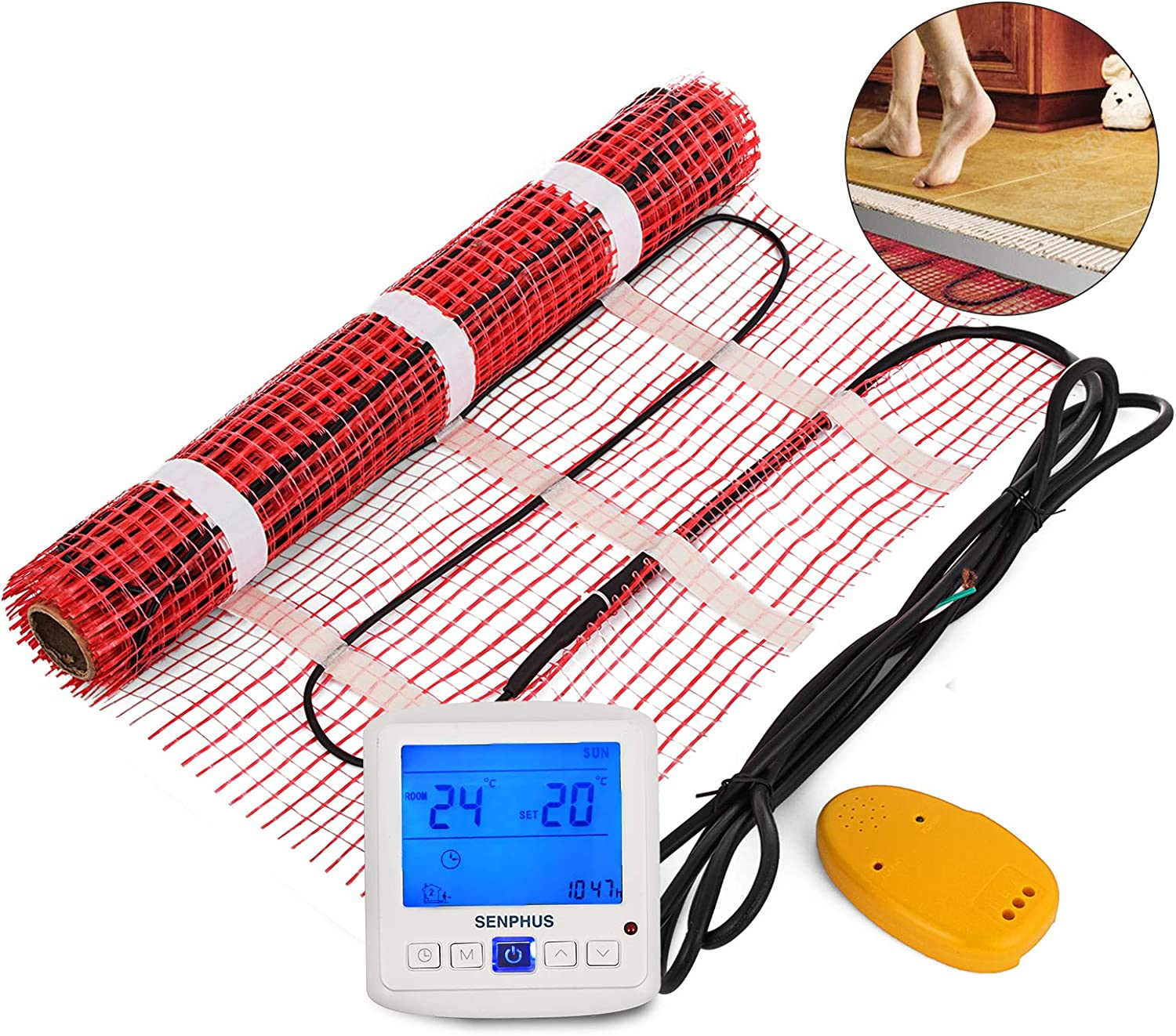 Happybuy 90 Sqft 120V Electric Radiant Floor Heating Mat with Alarmer and Programmable Floor Sensing Thermostat Self-Adhesive Mesh Underfloor Heat Warming Systems Mats Kit (90Sqft Kit)