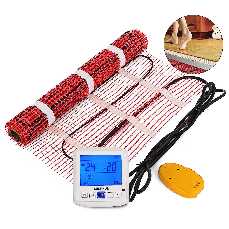 Happybuy 70 Sqft 120V Electric Radiant Floor Heating Mat with Alarmer and Programmable Floor Sensing Thermostat Self-Adhesive Mesh Underfloor Heat Warming Systems Mats Kit (70Sqft Kit)