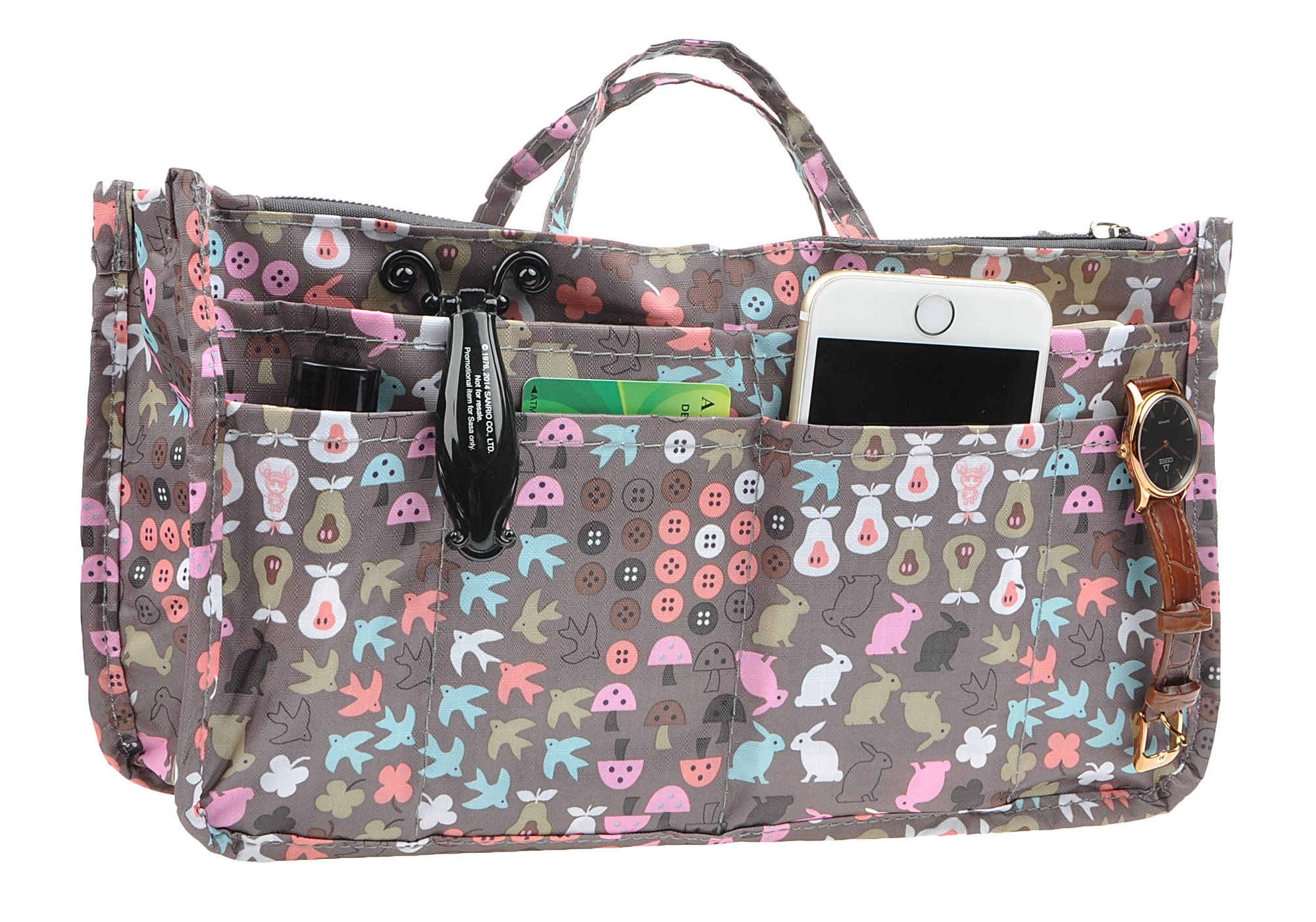 Printed Purse Insert Organizer,14 Pockets Zipper Closed Handbag Liner Bag In Bag (Cartoon rabbit)