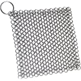 Blisstime Cast Iron Cleaner XL 7x7 Inch Premium Stainless Steel Chainmail Scrubber