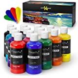 Magicfly Large Bottle Acrylic Paint, 14 Rich Pigment Colors (280 ml/9.47 fl oz.) Bulk Acrylic Paint Set, Non-Fading, Non-Toxi