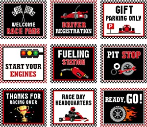 Racing Car Party Decorations, 10-11.8 Inch Laminated Racing Signs, Racing Themed Party Signs, Racing Cutouts with 40 Glue Point Dots (9 Pieces, Racing Signs Black)