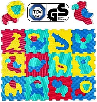 Hakuna Matte Alfombra Puzzle Infantil para Niños   12 Piezas Espuma EVA con Animales Safari   20% + Gruesa y Suave para Gatear y Aprender, 100% Segura, No Tóxica, sin Olor: Amazon.es: Juguetes y juegos
