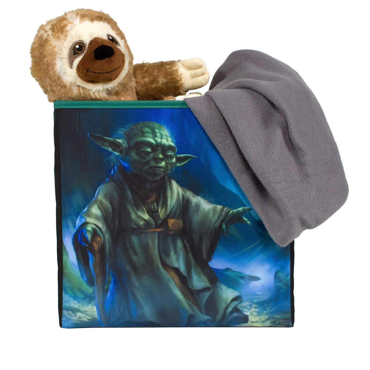 Everything Mary Star Wars Yoda Collapsible Storage Bin by Disney - Cube Organizer for Closet, Kids Bedroom Box, Playroom Chest - Foldable Home Decor Basket Container with Strong Handles and Design